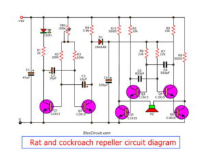 Rat and cockroach repeller circuit diagram