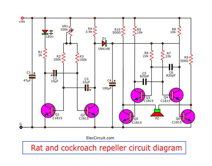 Rat and cockroach repeller circuit diagram
