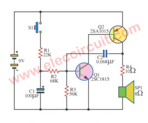 Simple audio alarm circuit using transistors