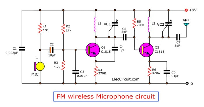 Two transistors fm wireless microphone circuit