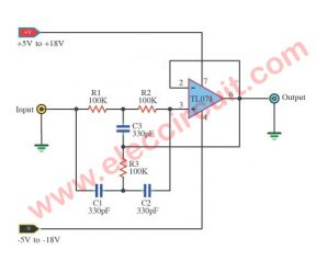 Band rejection filter circuit using TL071