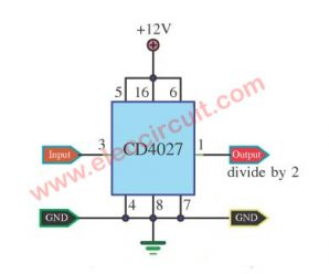 Two divide counter circuit using IC-4027