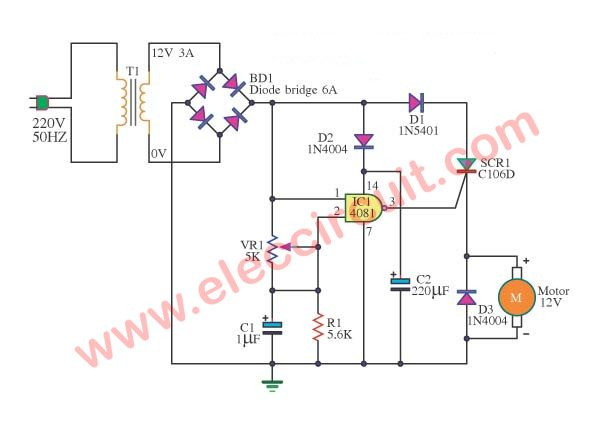 SCR DC motor speed control circuit using IC-CMOS