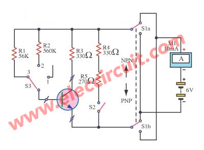 transistor tester circuit eleccircuit com rh eleccircuit com Transistor Tester Kit Simple Transistor Tester Circuit
