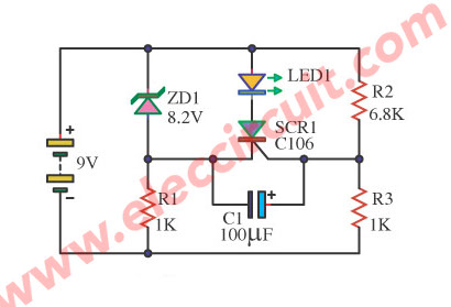 LED display low volt battery 9V using SCR