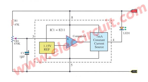 Battery Low Voltage Detector using IC 8211