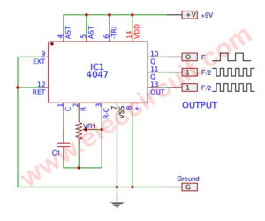 Simple astable multivibrator circuit using CD4047 CMOS IC