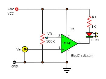 simple low voltage indicator using op-amp