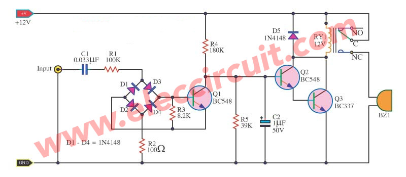 Simple Telephone Ring Amplifier circuits | ElecCircuit.com on