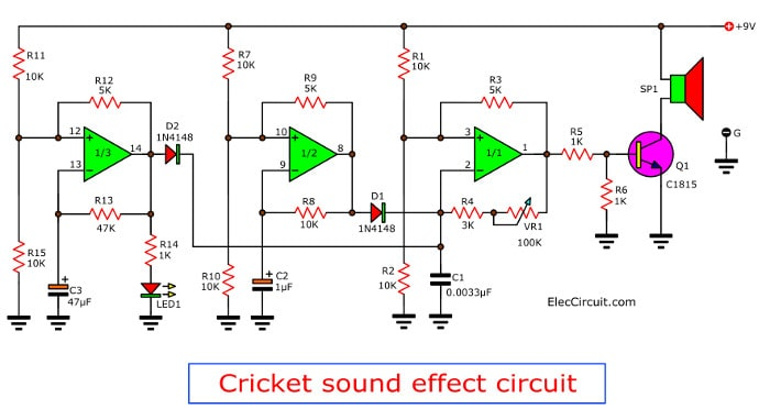 Buzzer cricket sound effect circuit using lm324 the circuit diagram of the cricket voice with buzzer ccuart Images