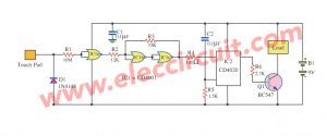 Touch Switch circuit By IC CD4001,CD4020
