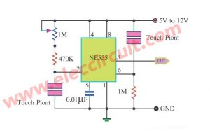 touch switch circuit using 555 timer