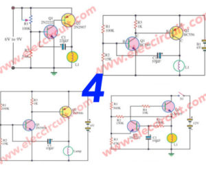 Four Lamp flasher circuit using transistors