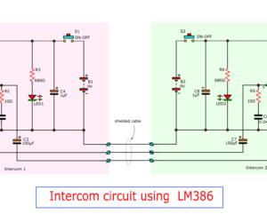 3 Intercom circuit using  LM386 – OP-Amp ICs