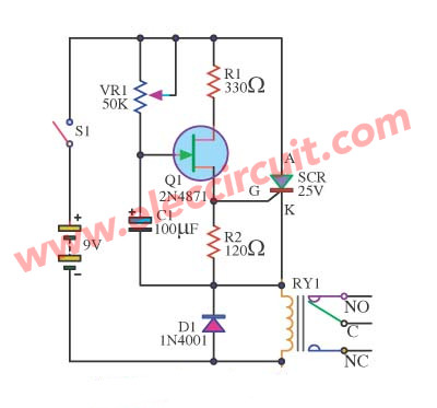Simple Switch off delay circuit using 2N4871