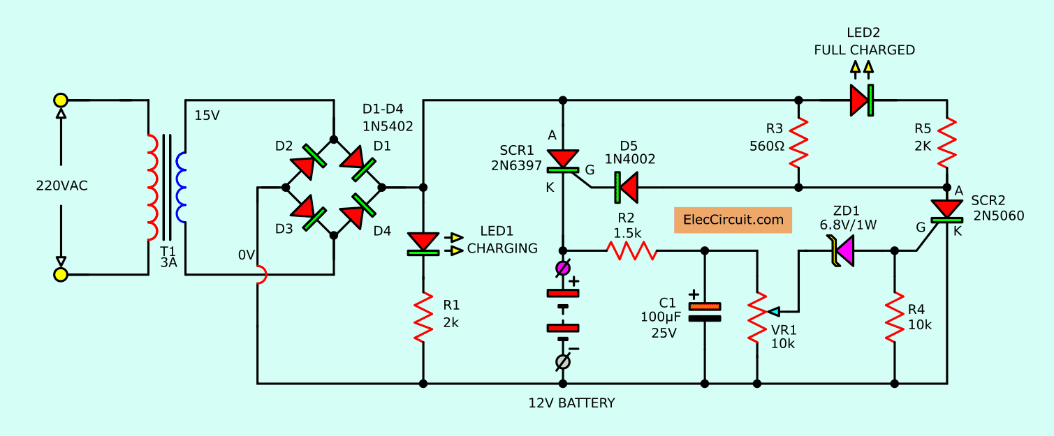 automatic battery charger circuit projects eleccircuit com rh eleccircuit com  Light Bulb Circuit Diagram