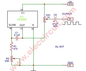 Frequency generator circuit using LM3909