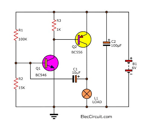 lamp 6 volt flashing by two transistor four lamp flasher circuit using transistors eleccircuit com 6 volt three prong flasher wiring diagram at webbmarketing.co