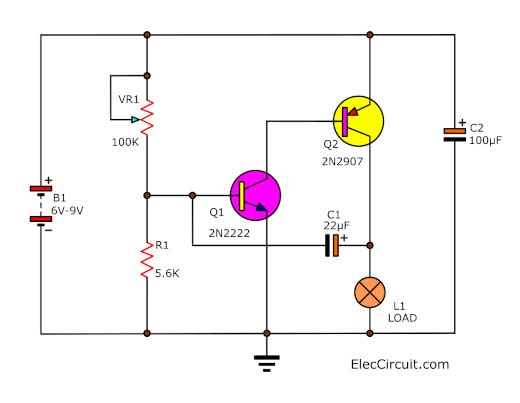 Lamp Flasher circuit using 2N2907 Bipolar Transistor