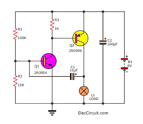 Lamp 6 volt flashing circuit using two transistor