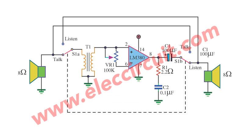LM380 mini intercom circuit