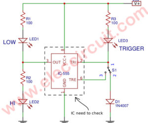 Simple 555 IC Tester Circuit Diagram