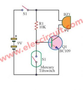 Simple slant (tilt) alarm switch circuit
