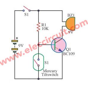 Simple slant (tilt) alarm switch circuit