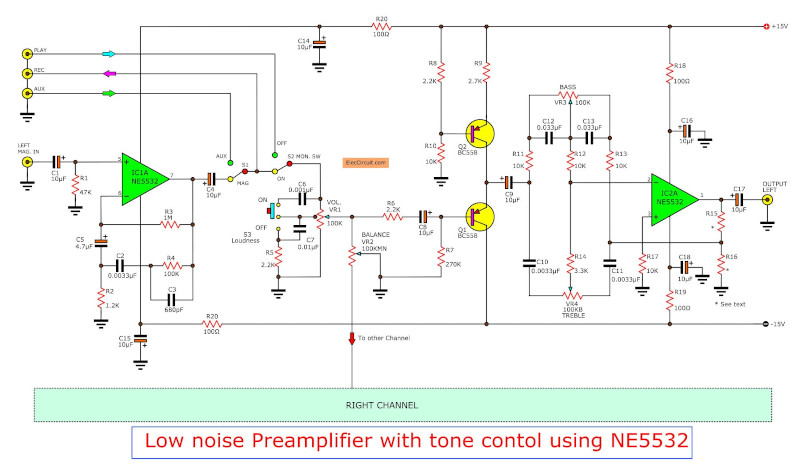 Low noise pre tone control circuit using 4558 - NE55532