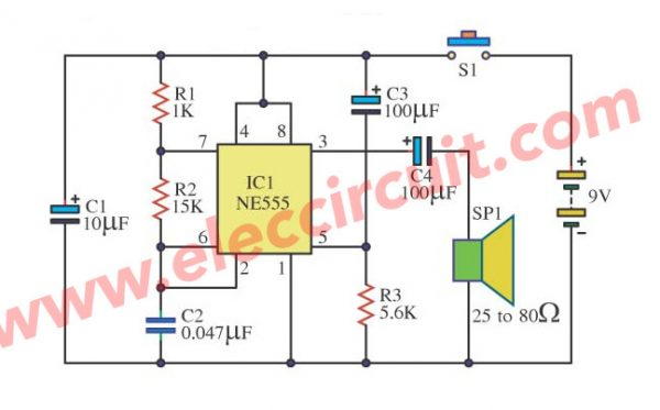 Door buzzer with IC-555