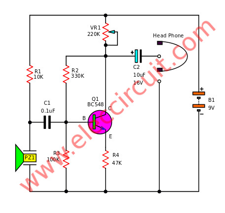 Simple Electronic Stethoscope circuits | ElecCircuit.com