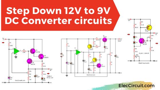 3 step down 12v to 9v converter circuits