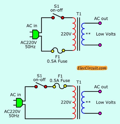 The AC input and transformer circuit