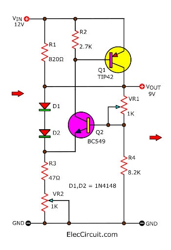 3 step down 12v to 9v converter circuits