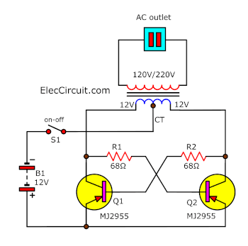 Very simple 50 watt inverter using MJ2955 simple inverter schematic diagram use mj2955 eleccircuit inverter circuit diagram at readyjetset.co