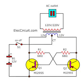 Simple 50watts inverter circuit using MJ2955