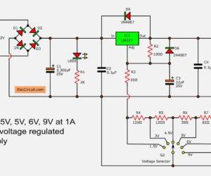 LM317 Regulated Power Supply  Voltage Select to 1.5V,3V,4.5V,5V,6V,9V 1.5A