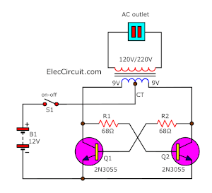 simplest 2N3055 transistors inverter circuit