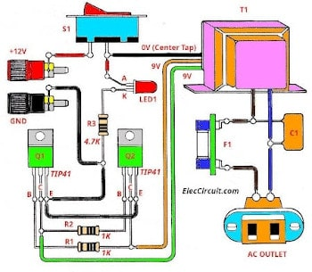 Simple Inverter Schematic Diagram Use Mj2955 Eleccircuit Wire 50w Audio Amplifier With Tda1514a