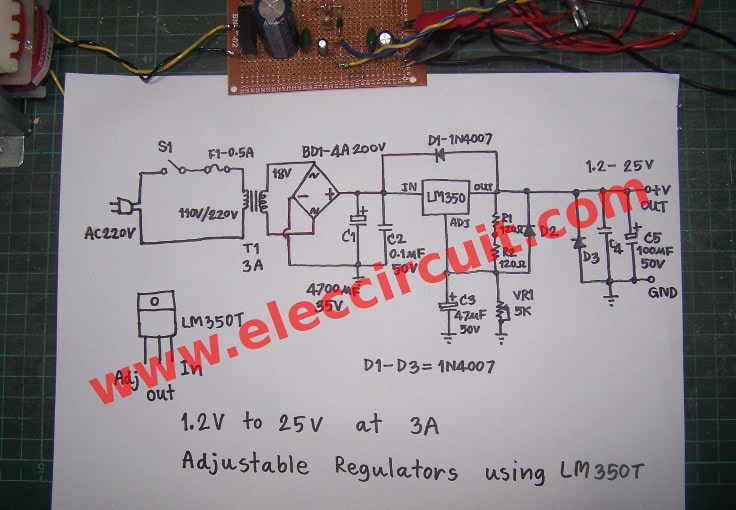 Lm350 Adjustable Voltage Regulator Variable Power Supply Regulated 12v 25v At 3amp Regulators Using Lm350t