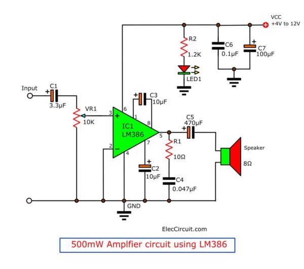 500mW amplifier circuit project using 12V