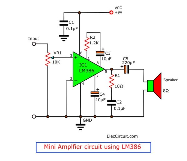 LM386 mini audio amplifier circuit