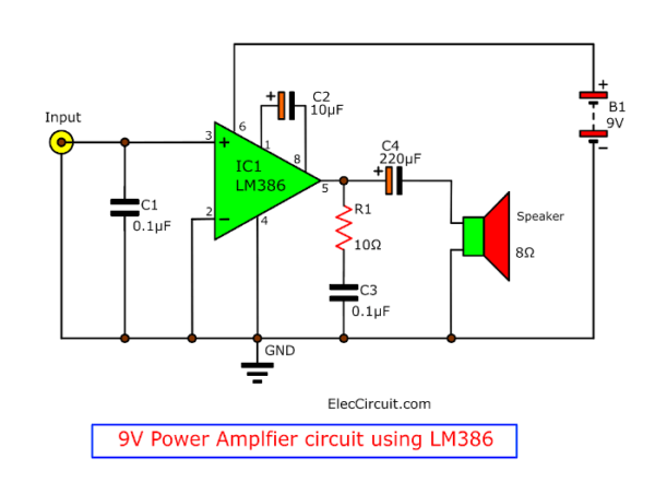 lm386 audio amplifier circuit with pcb  eleccircuit.com
