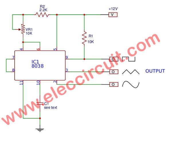 Basic Circuit Of Function Generator Using ICL8038