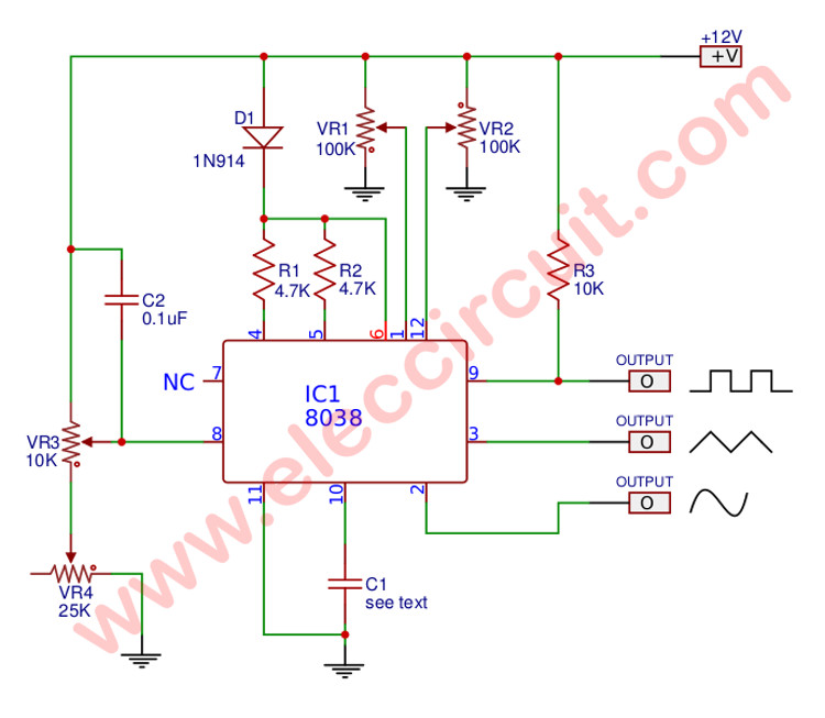 icl8038 mini function generator circuits eleccircuit commini function generator circuit using icl8038 figure 3 the circuit diagram