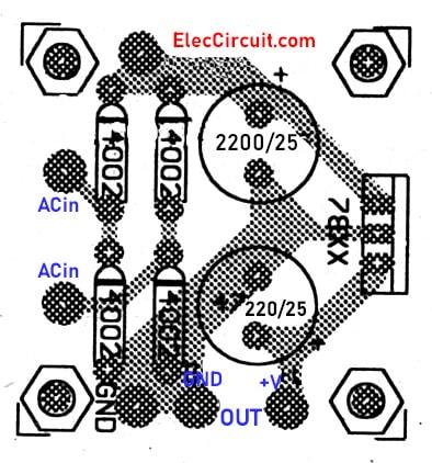 Components layout of 78xx regulator