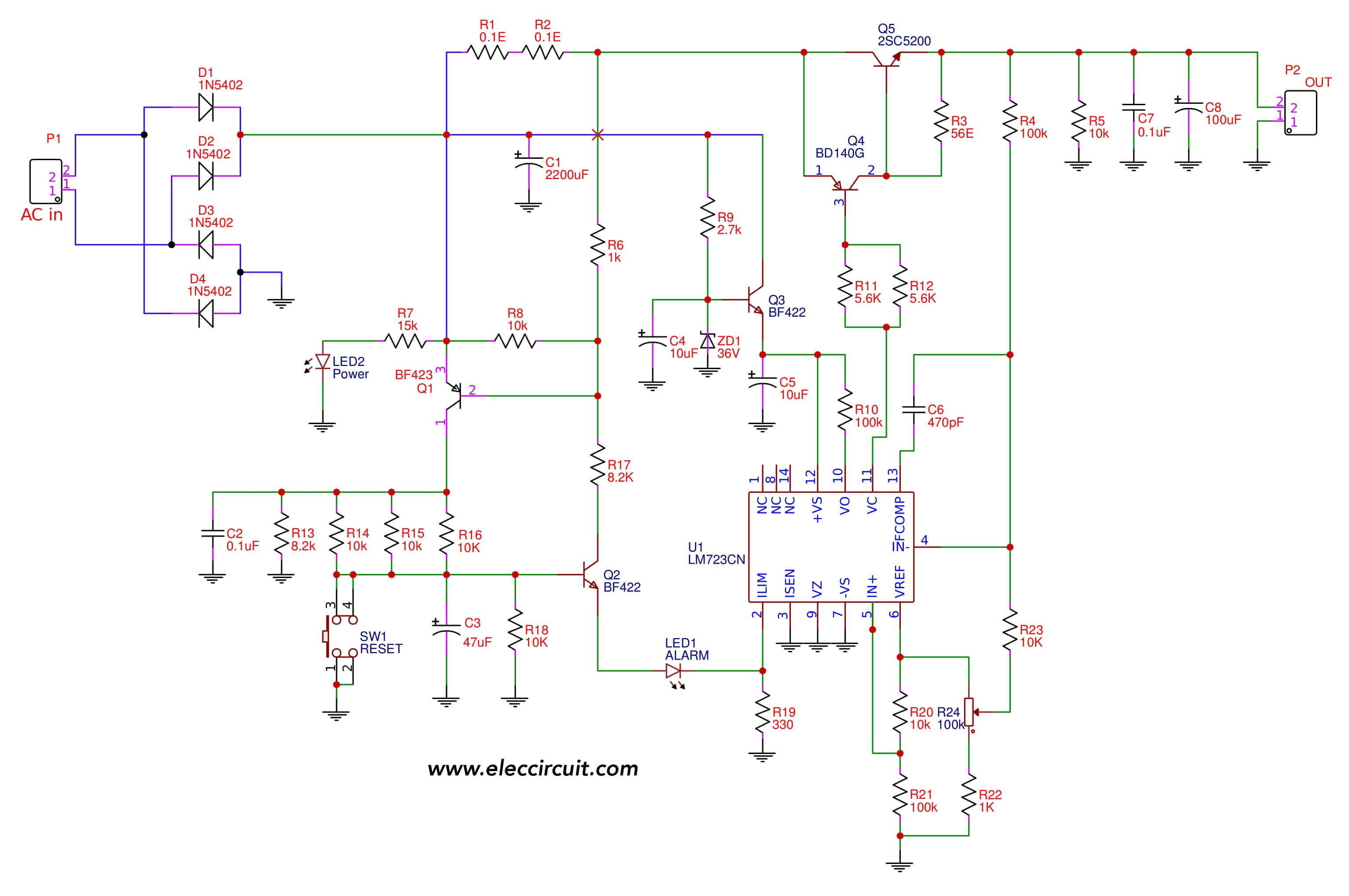24V 5A Power Supply Circuit Diagram | Variable Power Supply Circuit 0 50v At 3a With Pcb Eleccircuit Com
