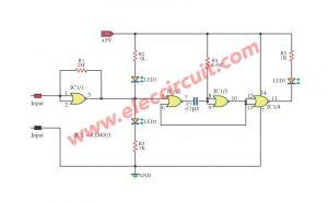 3 State Logic Tester Probe Circuit Using IC-CD4001