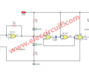 3 State Logic Tester Probe Circuit Using IC-CD4001
