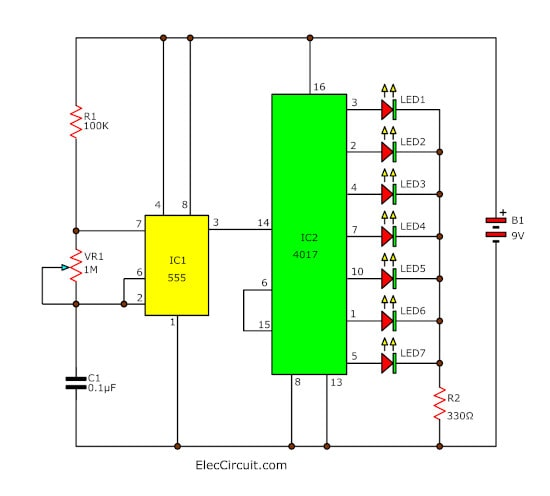Simple LED light sequencer circuit diagram